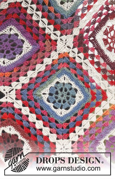 "Crochet DROPS blanket in ""Delight"" and ""Fabel"". ~ DROPS Design"