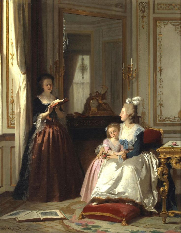 Joseph Caraud (1821 - 1905) - Madame de Lamballe reading to Marie Antoinette and her daughter, Marie Thérèse Charlotte, 1858
