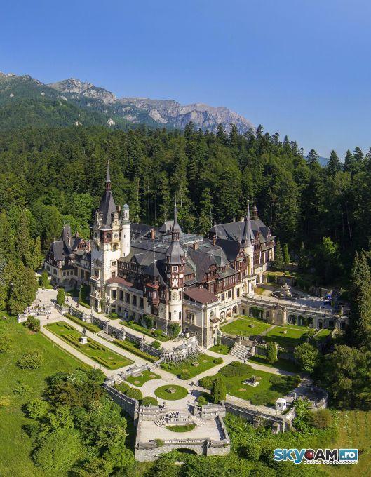 peles palace romania landscape in heart of carpathian mountains eastern europe