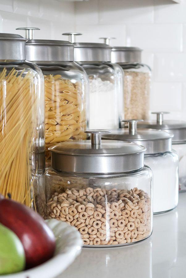 Glass Jars Organize Kitchen Counters And Free Up Cabinet Space Kitchen Containers Kitchen Jars Kitchen Counter Organization