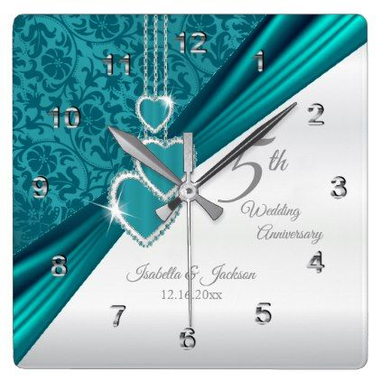 #5th Turquoise Wedding Anniversary Keepsake Square Wall Clock - #wedding gifts #marriage love couples