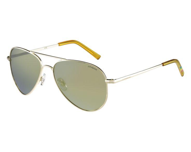 Lunettes de soleil  Polaroid Monture or / Verres gris polarisés avec effet miroir doré 45euros #whislist