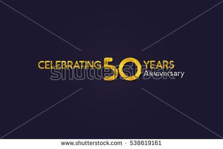 50 Years Anniversary Celebration Logo, Yellow, Isolated on Dark Purple Background