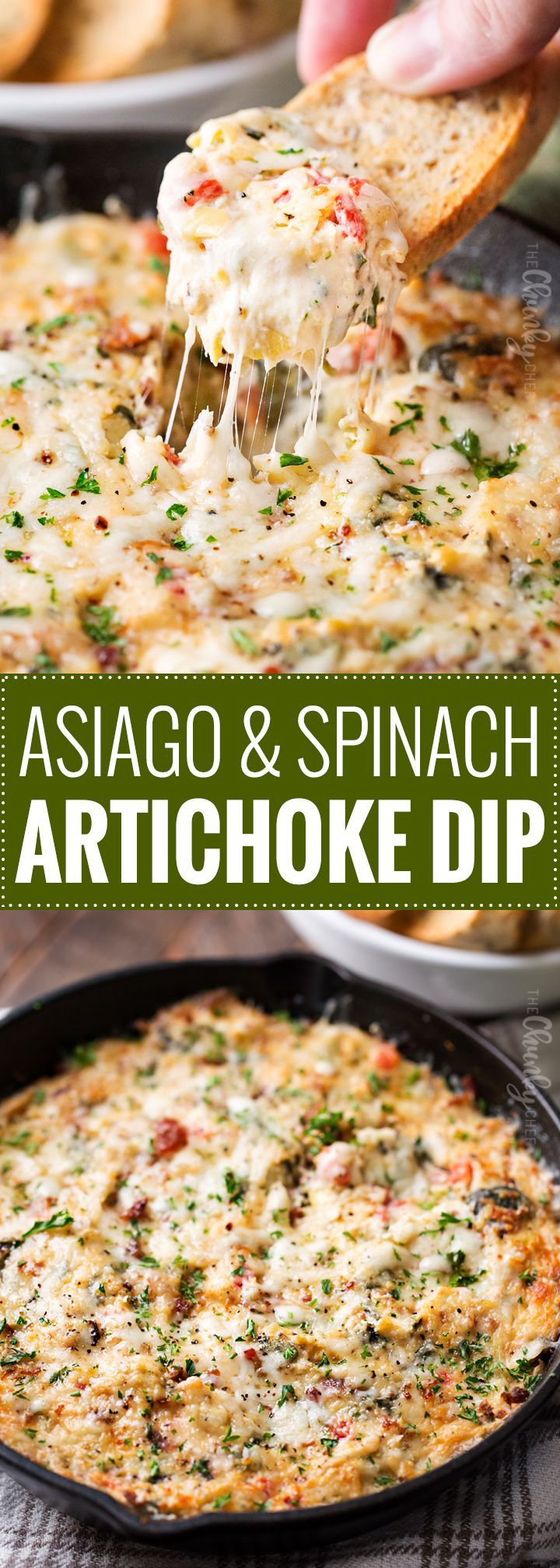 Asiago and Spinach Artichoke Dip | A classic party dish, this baked spinach and artichoke dip is made from scratch, using fresh ingredients, and still super easy to throw together!