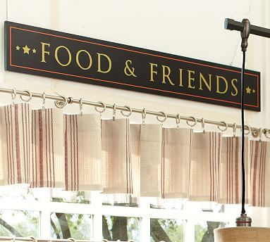 "Food & Friends Wall Art - 60""w x 8""h wooden sign. $129  @ potterybarn.  Mount on sophet above kitchen doorway."