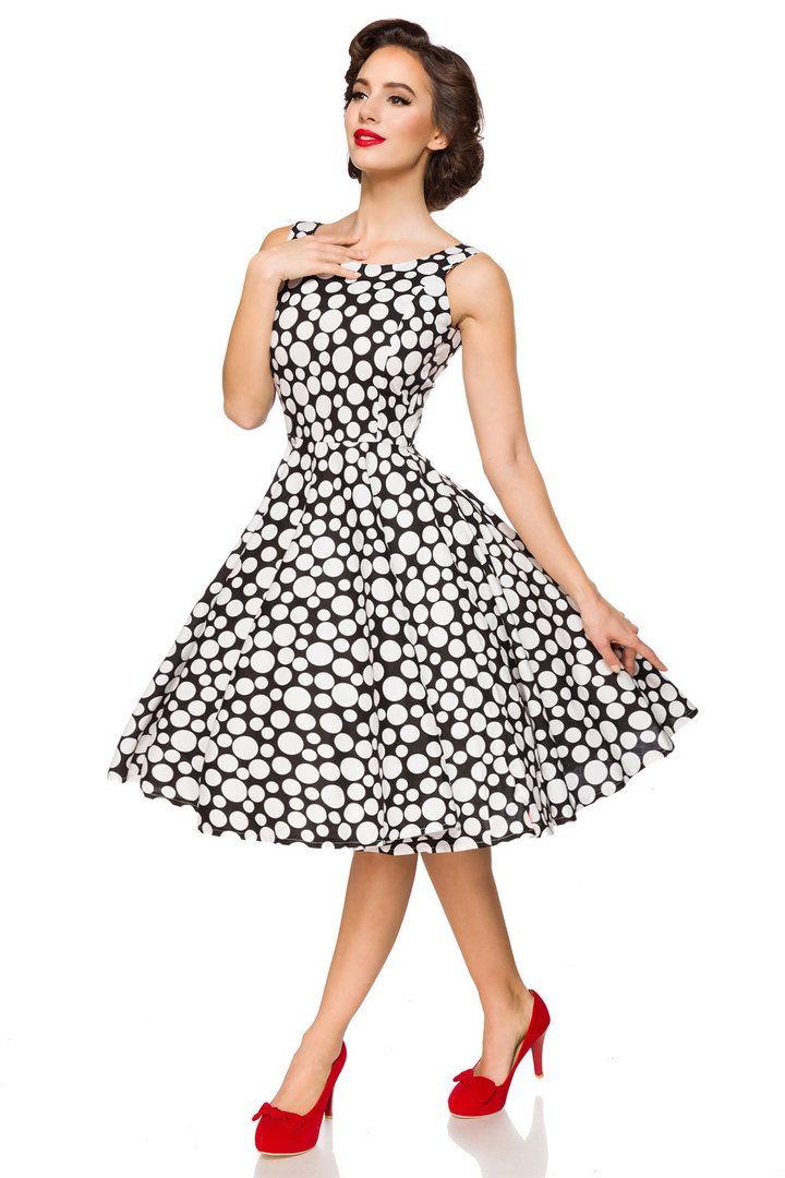 9f8eabb92a Belsira 50er Jahre Rockabilly Petticoat Kleid - Polka Dots - Schwarz Weiß