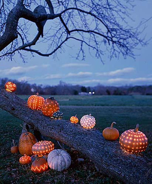drill holes in pumpkins in different patterns to decorate your reception