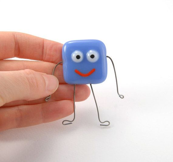 Periwinkle blue funny smiley face magnet, fused glass, with super strong magnet