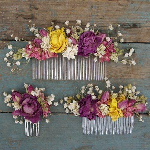 Englische Rose getrocknete Blumen Haar Kamm von EnglishFlowerFarmer