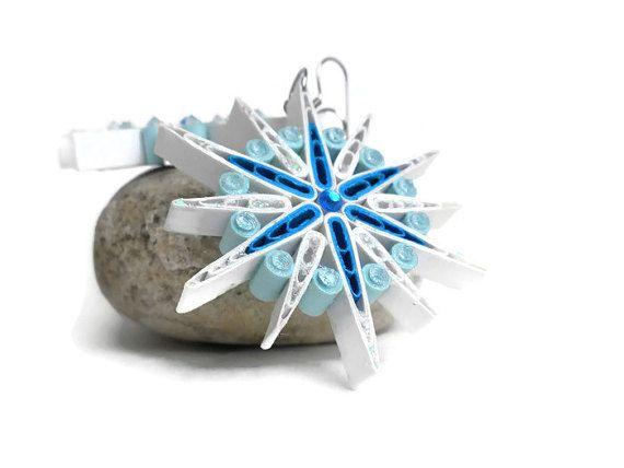 Snowflake earrings  Blue and white earrings  by Herpaperparadise