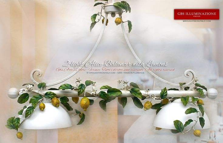 White with Lemons Bar Pendant in hand-decorated wrought iron | GBS Illuminazione – Ferro Battuto – Wrought Iron Lightings – Tole Chandeliers – GBS Arte e Colore – Made in Tuscany