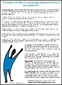 Free printable from Your Therapy Source - 10 Simple Activities to Encourage Physical Activity in the Classroom. Pinned by SPD Blogger Network. For more sensory-related pins, see http://pinterest.com/spdbn