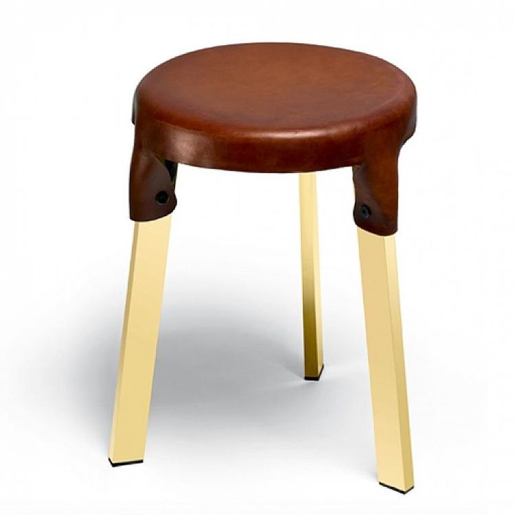 SIMON HASAN BERMONDSEY LEATHER SHORT STOOL