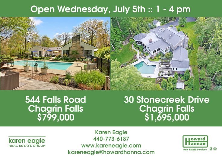 Open Houses Today! Two gorgeous Chagrin Falls homes will be open today, July 5th, from 1 to 4 pm. View details about the home at 544 Falls Road here: 544fallsrd.howardhanna.com and see details about the home at 30 Stonecreek here: 30stonecreekdr.howardhanna.com #openhouse #realestate