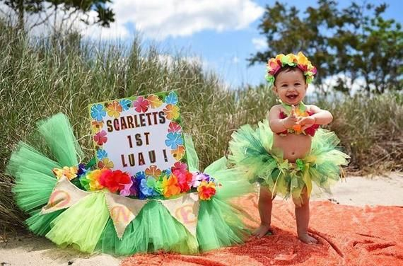 4ea1e23a0a1b Birthday Luau Outfit - Baby Girl 1st Birthday Outfit - Children's ...