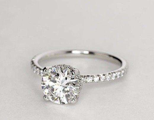 1.75 Carat Diamond Blue Nile Studio Petite French Pavé Crown Diamond Engagement Ring | Recently Purchased | Blue Nile