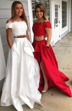 modest two piece red off the shoulder prom dresses, unique white short sleeves prom dresses with pockets, elegant 2 piece lace top evening gowns with slit