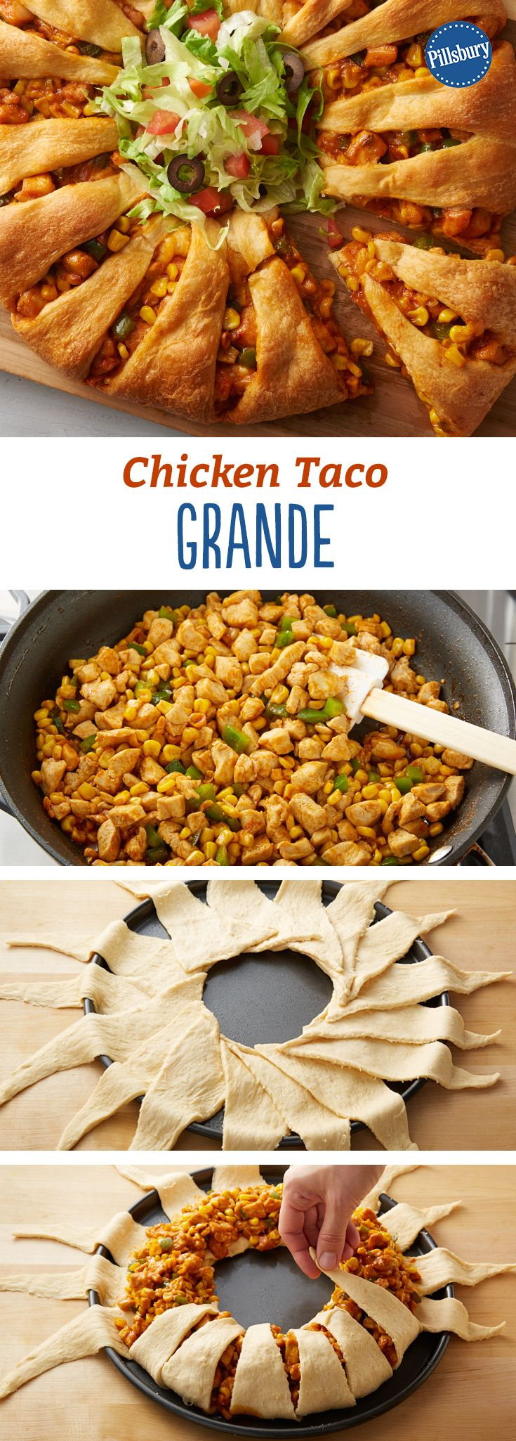 Need an impressive game day app or a crescent dinner the whole family will love? Try this Chicken Taco Grande!