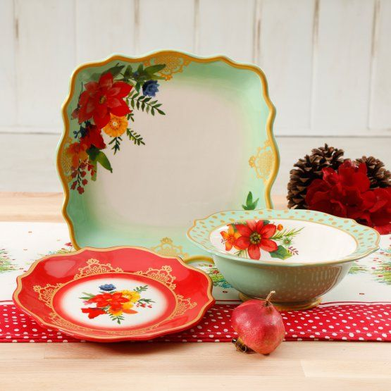 The Pioneer Woman Winter Bouquet 12 Piece Dinnerware Set