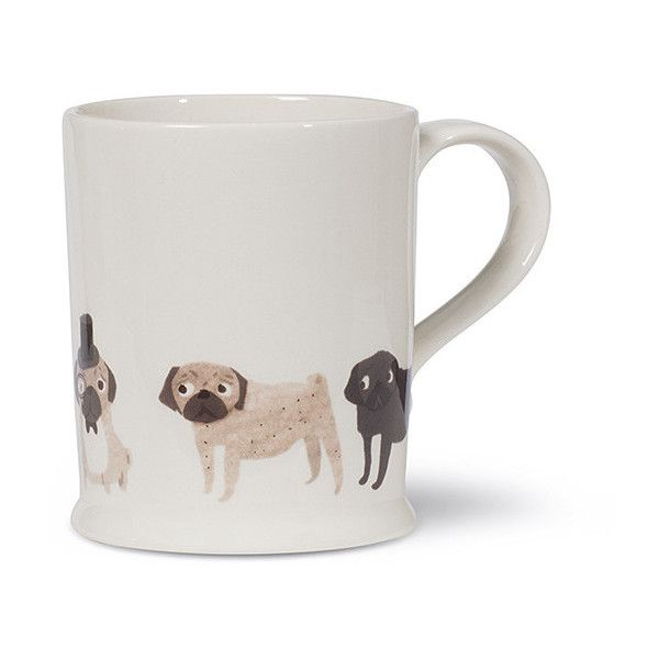 Fenella Smith Pug Mug (€25) ❤ liked on Polyvore featuring home, kitchen & dining, drinkware, neutral, handmade coffee mugs, pug mug, tea mug, handmade mugs and pug coffee mug