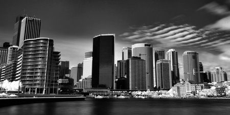 Interior Design and Home Decoration Artwork from Art Australia - buy this original signed print in 3 sizes.  Futuristic Sydney BW by David Rennie available via http://www.art-australia.com/futuristic-sydney-b-w-by-david-rennie/