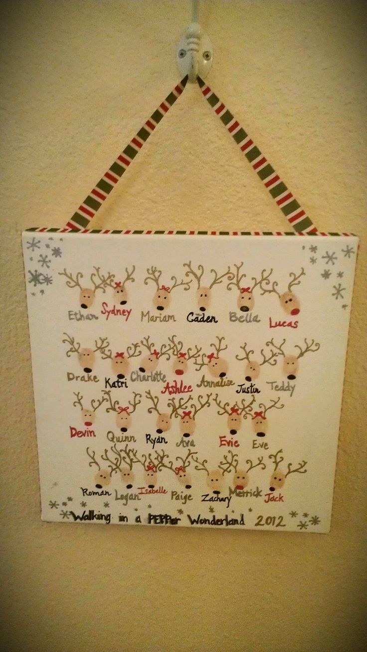 Teacher Gift - Reindeer Thumbprints on canvas.  12X12 canvas, brown ink pad, paint markers & ribbon (all from Michael's)