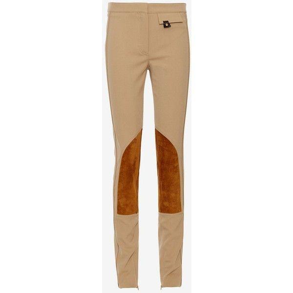 Derek Lam Jodphur Leggings: Camel ($1,150) ❤ liked on Polyvore featuring pants, leggings, beige pants, zip pants, cuffed pants, mini leggings and wool leggings