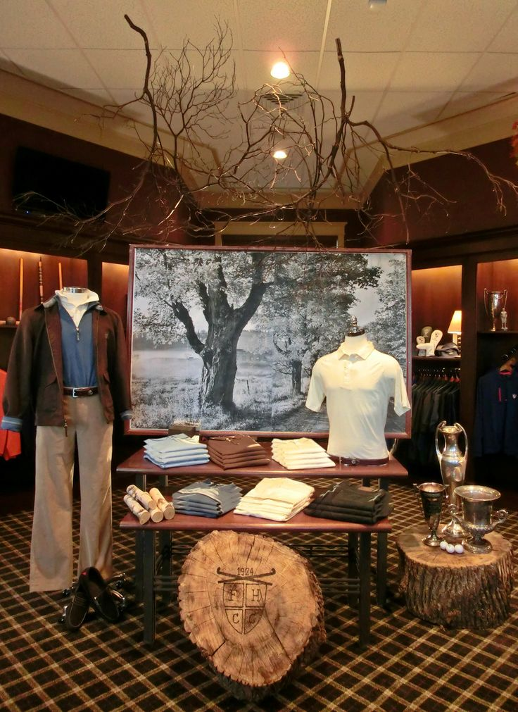 Fountain Head Country Club: Men's Visual Display, Golf Display. Merchandising Ideas.