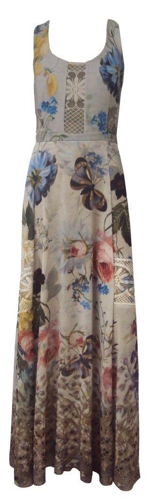 Vestido Longo Estampado com detalhes em Tule Bordado 162564 - comprar online