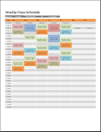 Weekly Class Schedule Template at wordtemplatesbundle.com