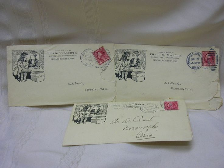 3 Vintage 1913 Correspondence Letters Chicago Junction Ohio Thad. K. Martin