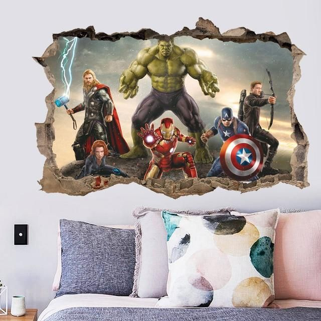 Super Heros 3d Broken Hole Wall Stickers Superhero Wall Stickers