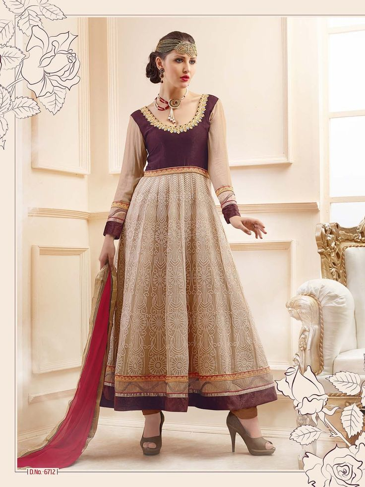 Cream Color Anarkali Kameez Suit