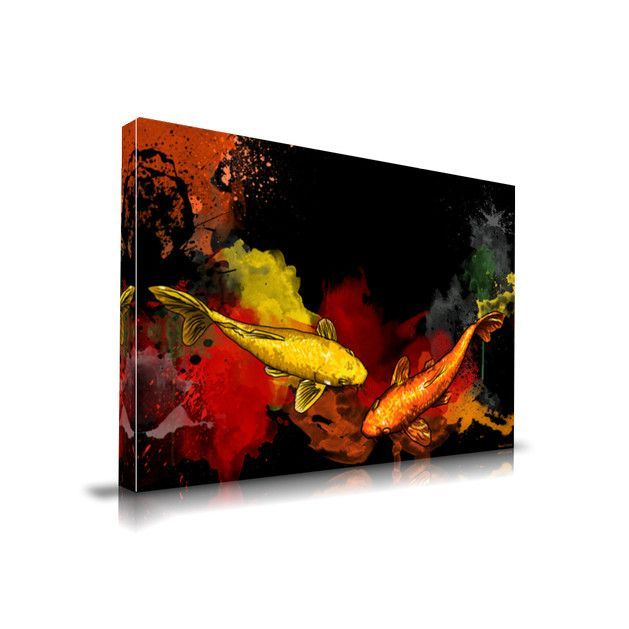 'Koi Fish' Asian Graffiti Painting Print on Wrapped Canvas
