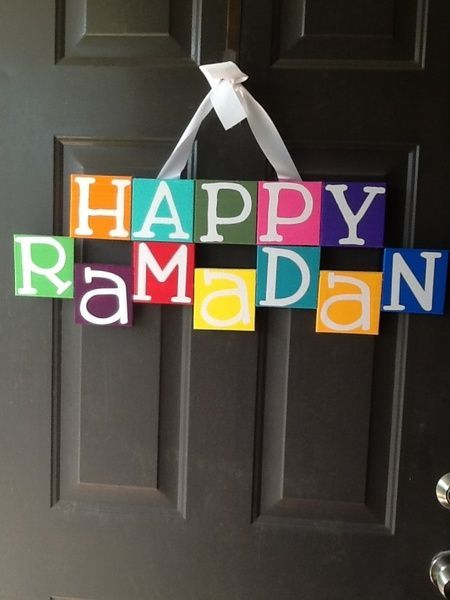 """The """"wreath"""" I made this year to hang on my door. First #ramadan in our new home so I used the word happy, and did it in english rather than arabic to get neighbors asking questions 