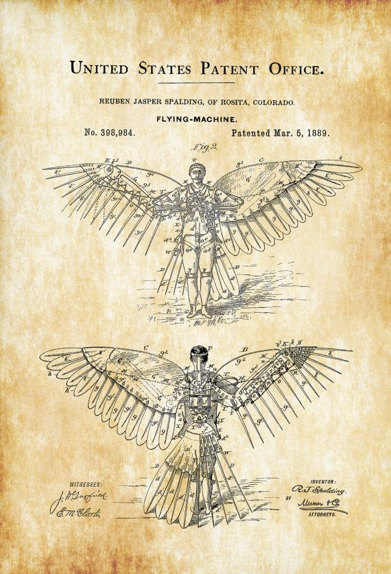 A patent print poster for an unusual flying machine that is a pair of wings attached to a man, invented by Ruben Jasper Spalding. The patent was issued by the United States Patent Office on March 5, 1889. Patent prints allow you to have a piece of history in your Home, Office, Man #patentprints