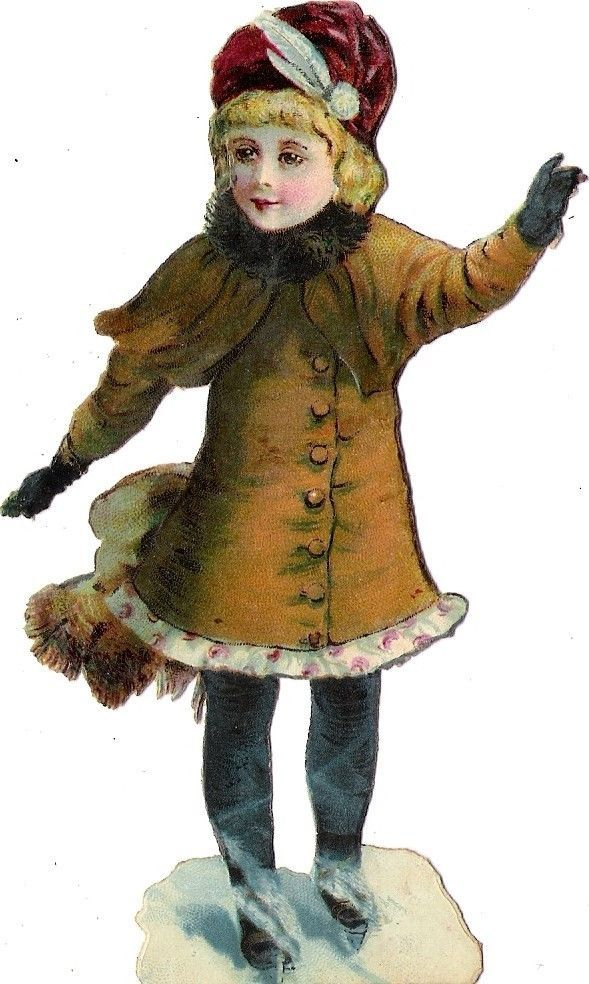 Oblaten Glanzbild scrap die cut chromo Winter Kind child enfant Eis ice skating