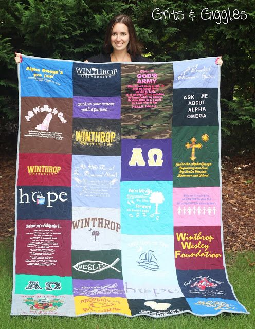 T-Shirt Quilt with multi-sized blocks... Need to do this with all my old KU tshirts