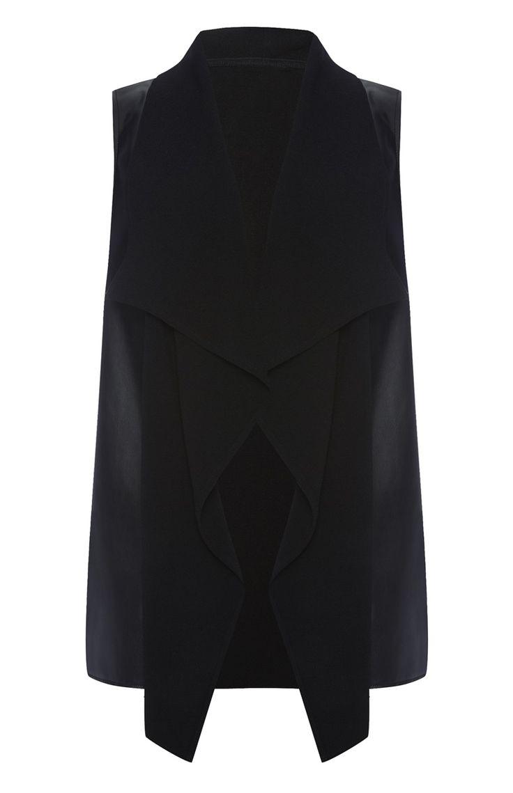 Primark - Zwart mouwloos vest met PU-voorkant