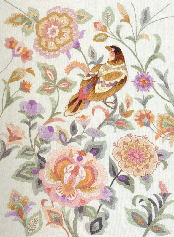 ♒ Enchanting Embroidery ♒  embroidered bird and flowers