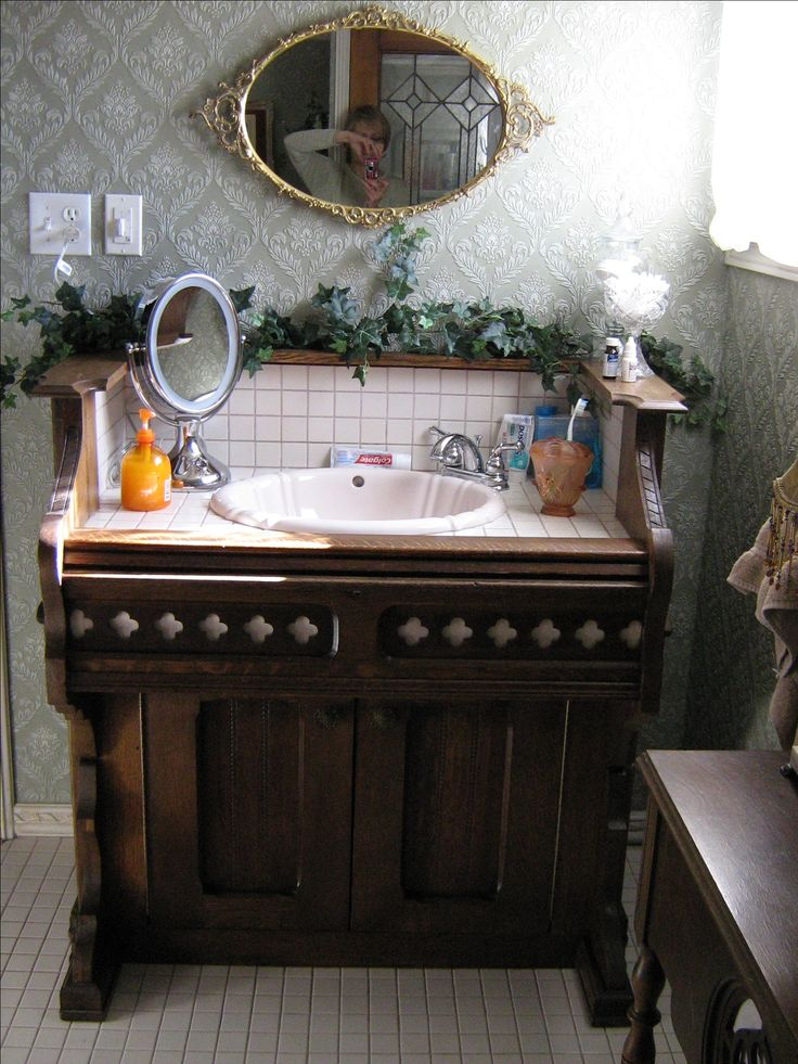 Ensuite Bath. Vanity fabricated from an antique pump organ.