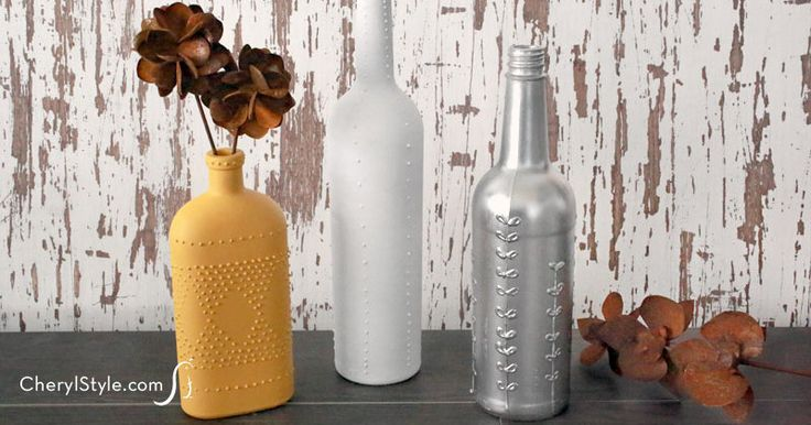 DIY wine bottle vases decorated with puff paint and Sugar Artists' Acrylic - CherylStyle