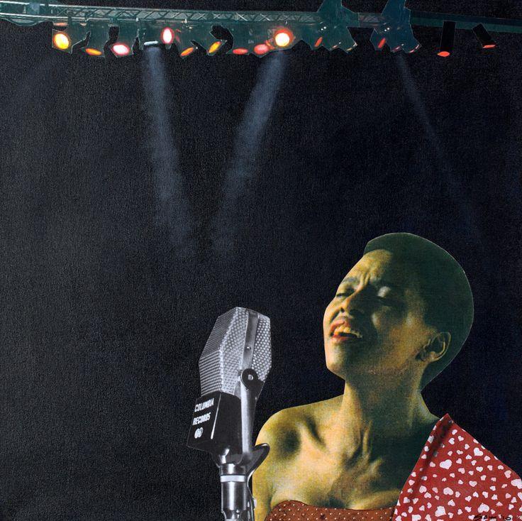 Jabulane Sam Nhlengethwa (b 1955). MIRIAM MAKEBA 2010. Mixed media and collage on canvas, 60 x 60cm.