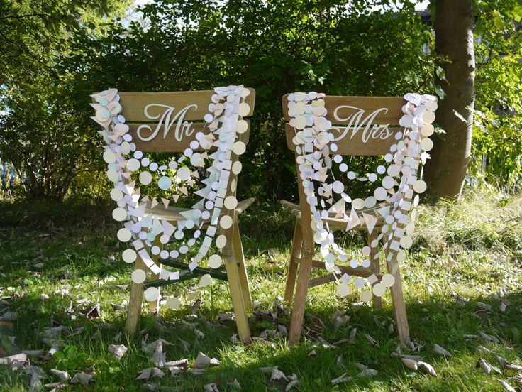 Luxury Wedding Chair decoration - 8 strand Delysia paper garland, chairback decor, chair garland by paperstreetdolls on Etsy