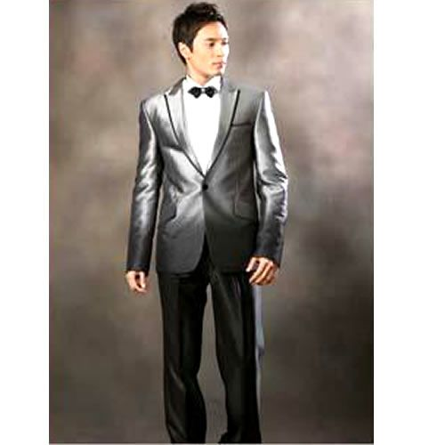 Best Man Silver Gray Grey 3 Piece Prom Wedding Business Suits Tuxedos SKU-123079