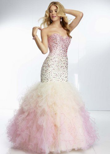 Pink White Ombre Sparkly Beaded Mermaid Prom Dress Hot