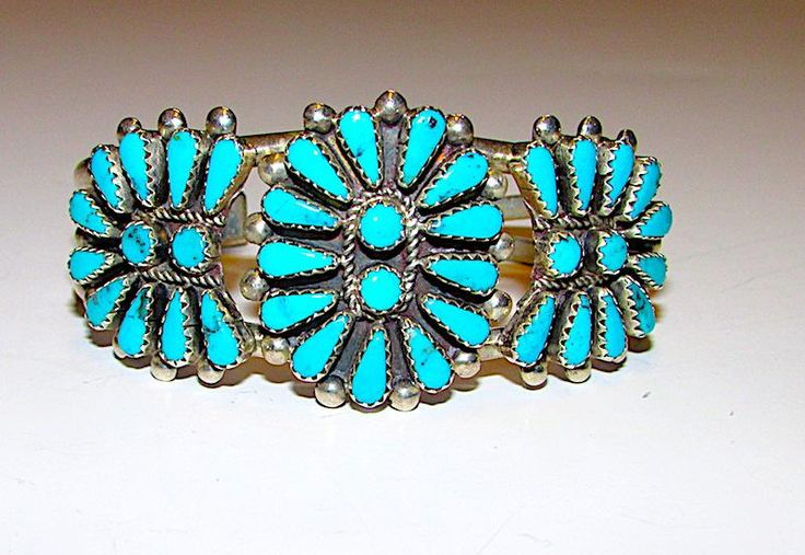 Vintage Native American Navajo Sterling Silver Turquoise Cluster Rosette Statement Cuff Bracelet Signed