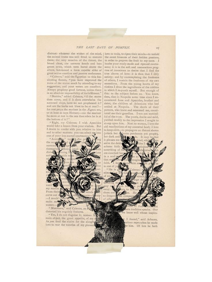 dictionary art vintage deer ELK with FLOWERS by ExLibrisJournals
