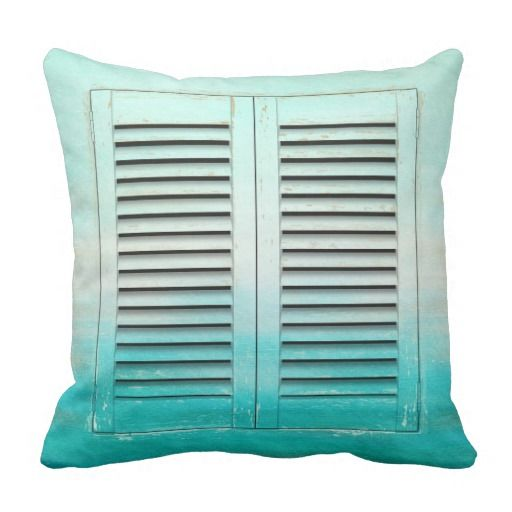 Old tropical colors window shutters square pillow