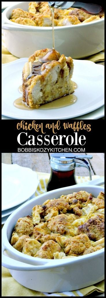 Chicken and Waffles Casserole -  Say goodbye to boring breakfast with this easy, kid friendly, chicken and waffles casserole. @easyhomemeals @eggorecipes AD From www.bobbiskozykitchen.com